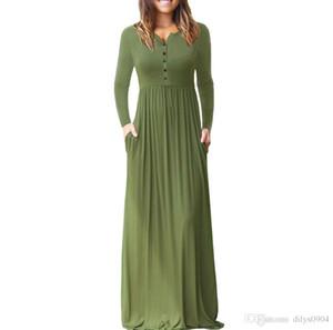 Art und Weise des vollen Kleides der reinen Farbe Hülsen-Kopf Rundkragen Lange Hohe Taille Ärmel haben eine Tasche Frauen-Stil Kleid Damen Clothi