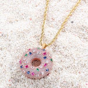 Donut-Anhänger-Halskette Farbige Zircon Donut Ornament Iced Out CZ Stein Halskette süße Brötchen Anhänger Männer
