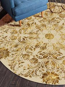 Árabe Ronda de alfombra para la sala de estar dormitorio y Alfombras Alfombras Oro impreso floral piso Estudio Mat Mesa de Centro Coordinador de Área Alfombras
