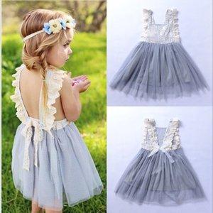 Vendita al dettaglio per bambini designer ragazze abiti Backless Vest Princess Dress Estate senza maniche indietro Hollow Lace Appliqued Ruffle Tulle Pary Dresses