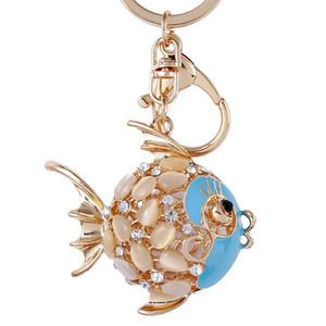 Peixe Rhinestone cristal Keychain Consideravelmente animal bonito Marinha Goldfish Chaveiro Mulheres saco pendurado encantos pingente chaveiro