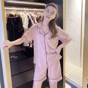 Lüks tasarımcı pijama ıns net kırmızı yaz pijama yeni kısa kollu şort pijama kadın buz Ipek pijama takım ev hizmeti