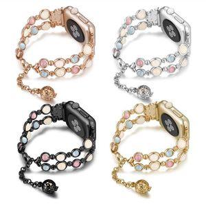 2020 Fashion luminescentes Bracelet Agate bande iWatch perles de bijoux lumineux bracelets pour Apple montre 38/40 / 42 / 44mm Série 1 2 3 4 5