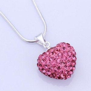 2020Heart Crystal Shamballa Necklace Silver plated Jewelry Rhinestone Crystal Bead Necklace Women Jewelry Gift Free Shipping