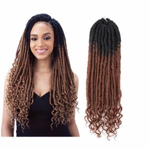 Вязание волос Богиня Locs Поддельного Locs завитого крючок волосы Bobbi Boss Nu Locs Synthetic плетение волос 18INCH Exntension Для женщин