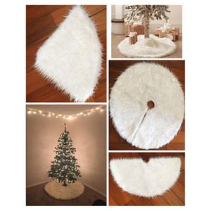 Decoração Branca Plush árvore da pele Tapete Feliz Natal para Home Natal Árvore Saias Ano Novo Decoração