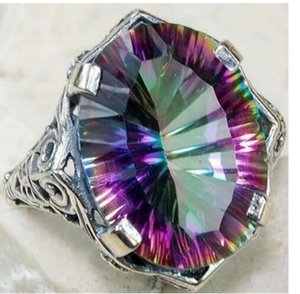 Fashion Vintage Silver Big Colorful CZ Zircon Stone for Women Engagemnet Wedding Rings Jewelry
