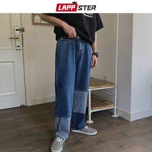LAPPSTER Patchwork Calça Jeans Azul Calças de Brim 2019 Streetwear Estilo Coreano Denim Do Vintage Designer Harem Pants Plus Size
