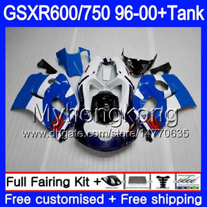 هيكل + خزان لـ SUZUKI SRAD GSXR 750 600 GSXR600 96 97 98 99 00 291HM.21 GSXR-600 Stock blue hot GSXR750 1996 1997 1998 1999 2000 Fairings