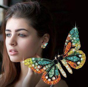 Новый конструктор класса люкс крыла бабочки серьги серьги стержня способа женщин алмазов серьги девочек одежда ювелирных аксессуаров для женщин