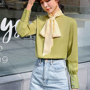 New 2020 Spring Solid Long Sleeve Womens Tops and Blouses Casual Vintage Bow Pullover Shirts Women Blusas Mujer De Moda 8302 50
