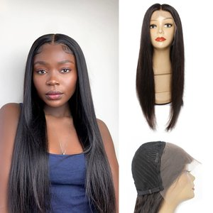 KISSHAIR 13x4 lace frontal wig natural color straight human hair wig pre-plucked Brazilian front lace wigs