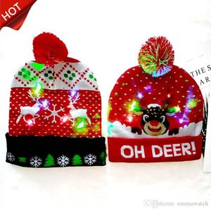 2020 HOT 10 Designs LED Christmas Hats Beanie Sweater Christmas Santa Hat Light Up Knitted Hat for Kid Adult For Christmas gift