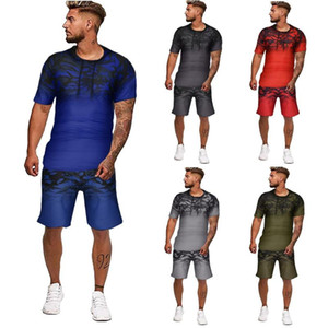 Mens Summer tracksuit Gradient multicolor Collision short sleeve Shorts Sports comfortable Thin clothing Sets dropshiping#g3