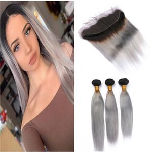 # 1B / 그레이 짙은 뿌리 Ombre Straight Human Hair 3 번들 (정면 4 개) Lot Ombre Silver Grey 말레이시아 인간의 머리카락 스트레이트 번들
