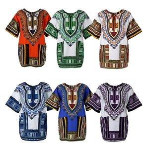 قميص للجنسين الاستوائية نمط التايلاندية الهندسية الأفريقية التقليدية مطبوعات الزهور اللباس القطن Dashiki قمصان القفطان