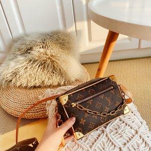 Boston Bag Eğik Omuz Bayan El Çantası Deri Çanta Baskılı ve kontrast reçine zincir kemer küçük vaka çantası 0129203