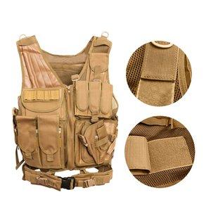 Men'S Vest Camouflage Body Vest Molle Armor Outdoor Jungle Equipment(Khaki) Tactical Vests