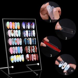 Limpar falsos pontas das unhas Magnetic Color Display Gráfico Acrílico unhas de gel polonês Display Stand Cor Mostrando Shelf Cartão Board