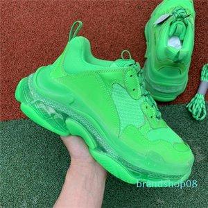 2019 Uomini Donne moda Designer casual Calzature Sneakers cuscino Triple S 3.0 Combinazione di azoto Suola di cristallo inferiore papà casual lll Snean1