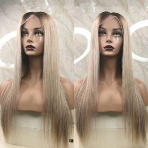 Cheveux Humains Brésiliens Ombre 1b 18 # Blond Cendré Full Lace Perruques Cheveux Humains avec Bébé Cheveux Partie Milieu Préplumée