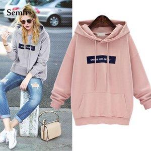 Semfri Mode Femme Rose Gris Sweat-shirt à capuche 2019 Femmes Printemps Automne Survêtement Drawstring Épaissir capuche Harajuku