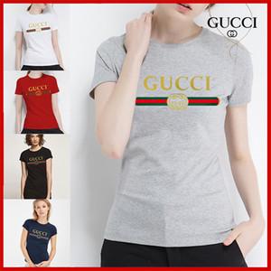 Новая мода Женщины Scoop животом вскользь Блуза Футболка Сыпучие Cotton T Shirt Женщины Top GUCCI
