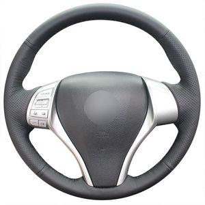 Tampa de volante preta do carro do couro artificial para Nissan Teana / Altima / Tiida