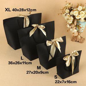 5pcs Tamanho Grande Caixa atual para a roupa Livros Embalagem punho do ouro Caixa de sacos de papel Saco do presente papel Kraft com alças Fitas