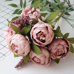 Peony Artificial Flowers outono Decoração Europeia Peony flor de seda artificial Weeding Decoração Flores