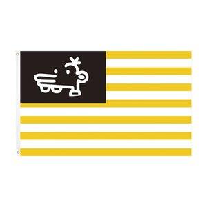envío libre la fábrica directa 100% Poliéster 90 * 150 cm 3x5 FTS amarillo raya blanca de la bandera del símbolo de la bandera de las Américas de la Unidad Paz y