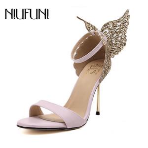 NIUFUNI 2018 Dolce Donna Sandali farfalla sottile alti calza donna Estate della signora Pumps punta aperta pattini della festa nuziale