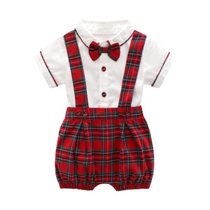 Baby boy gentleman clothing romper sets turn down collar Short sleeve romper + Red Plaid Pant 100% cotton Kids Summer clothing romper