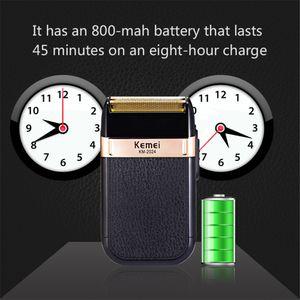 Kemei Электробритвы для мужчин Твин клинка Водонепроницаемый Поршневые Аккумуляторный Бритва USB аккумуляторная бритье машины Barber Триммер cqAji