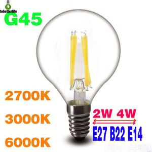 2W 4W LED Ampoule de filament Dimmable G45 C35 A60 Verre CLEAR E27 B22 E14 360 degrés Lampe LED