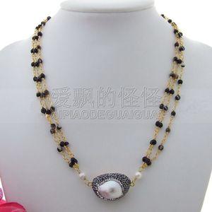 """Женское 19 """"3 пряди белый жемчуг Keshi черное ожерелье"""