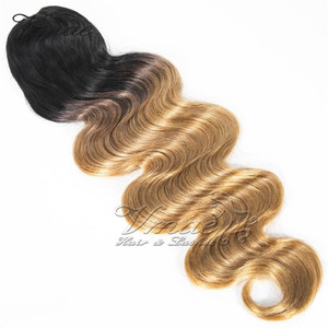 1B brasileira / 27 Two Tone morango loira Ombre cores 120g Long Wave Corpo Clipe cordão Cabelo Humano Weave Ponytails Extensions