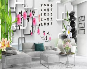 Living 3d Wallpaper Beautiful Green Bamboo Flower Swan Lake Interior Decoration Silk Mural Wallpaper