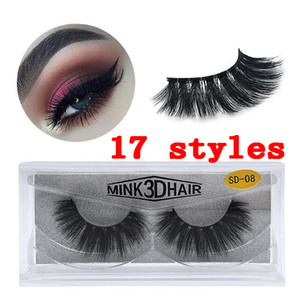 Quality 3D Mink Eyelashes Eye Makeup Mink False Lashes Soft Natural Thick 3D Eye Lashes Extension Beauty Tools 17 Styles Free Shipping