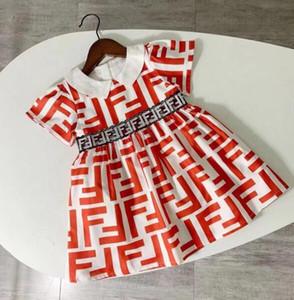 2020 Verão Vestido Bebés Meninas Designer luva Impressão Carta Crianças Roupa Curta Criança Crianças Dress For Girl Clothes Vestido