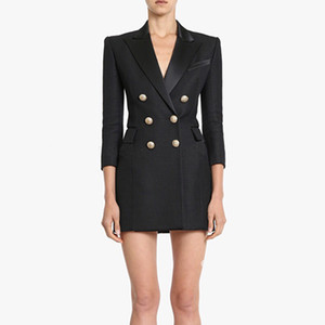 Manches 3/4 à double boutonnage en métal de haute qualité nouvelle mode 2019 piste robe femmes de robe enchâssé robe col Y190426