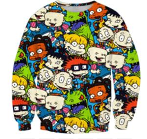 2019 90 Personajes de dibujos animados de Nickelodeon Catdog nueva manera de la camiseta de la impresión 3D Hombres Mujeres Unisxe Casual Ropa de abrigo con capucha Tops Q390