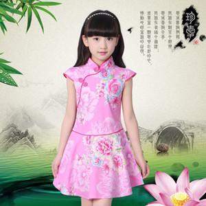 Kız bebekler Elbiseler Yaz Çocuk Elbise Kız Çin cheongsam Çiçek Kız Elbise Çocuk Geleneksel Çin Giysiler