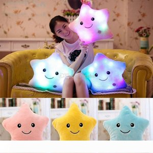 LED Five-pointed Star Pillows Cushion Star Luminous Pillow Plush Stuffed Pillow Toys Decorative Pillow Valentine's Day Present WX-P27