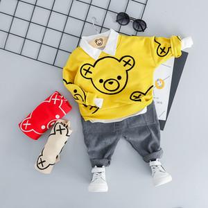 ZWXLHH 2019 Yeni Stil Erkek Bebek Kız Giyim Setleri Çocuk Çocuk Giyim Suit Toddle Ayı Kafa T Gömlek Pantolon Rahat Takım Elbise SH190907