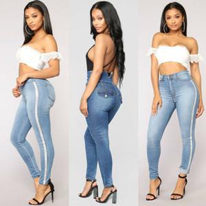 Anca sexy delle donne spinge verso l'alto dei pantaloni della matita Demin Skinny Jeans elastici pantaloni stretti