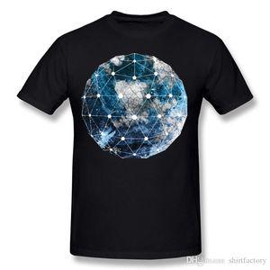 Mix Order Men 100% Cotton Fabric Geometric Blue Compilation T-Shirt Men Crewneck Black Short Sleeve T Shirt 4XL Normal T-Shirt