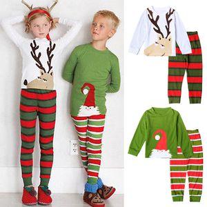 Рождество Малыш Младенческой Дети Мальчик Девочка Пижамы Наборы Одежды Дети Рождество Пижамы Пижамы Пижамы Набор