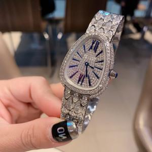 Mode féminine serpent montre design de luxe diamant brillant bracelet robe en strass dames d'or d'argent Bracelet en cristal d'horloge de