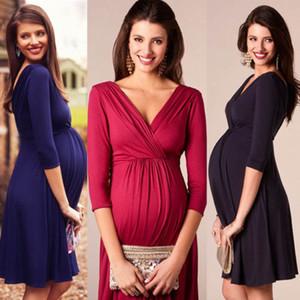 Womens Maternity Elegant Dresssthree Quarter Sleeve Knit Платья Для Беременных Грудное Вскармливание Беременная Мать Мода Стрейч Платье
